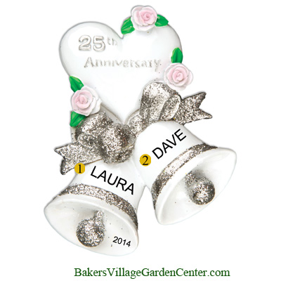 Personalized Christmas Ornaments Wedding Bells 25th Anniversary