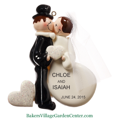 Personalized Christmas Ornaments Wedding Couple Kiss