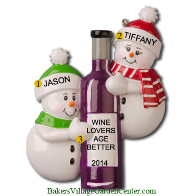 Personalized Christmas Ornaments Wine Bottle Couple