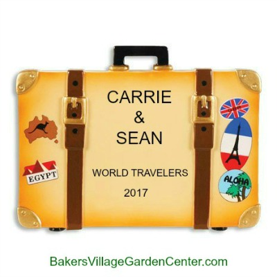 Personalized Christmas Ornaments World Travel Suitcase